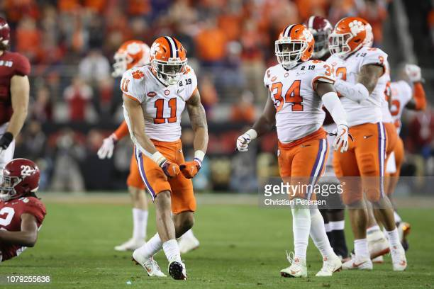 Isaiah Simmons of the Clemson Tigers reacts against the Alabama Crimson Tide in the CFP National Championship presented by ATT at Levi's Stadium on...