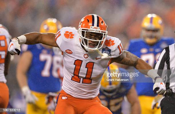 Isaiah Simmons of the Clemson Tigers reacts against the Pittsburgh Panthers in the first quarter during their game at Bank of America Stadium on...