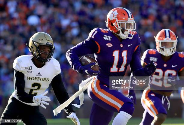 Isaiah Simmons of the Clemson Tigers runs with the ball after an interception against the Wofford Terriers during their game at Memorial Stadium on...