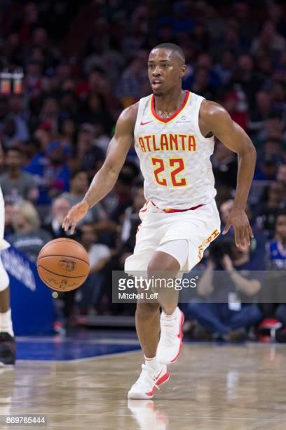 Isaiah Taylor of the Atlanta Hawks dribbles the ball against the Philadelphia 76ers at the Wells Fargo Center on November 1 2017 in Philadelphia...
