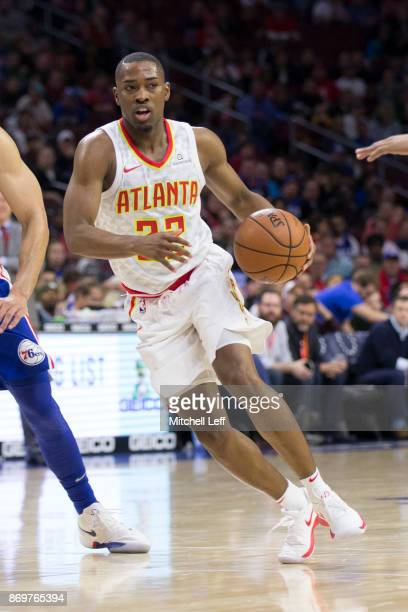 Isaiah Taylor of the Atlanta Hawks drives to the basket against against the Philadelphia 76ers at the Wells Fargo Center on November 1 2017 in...
