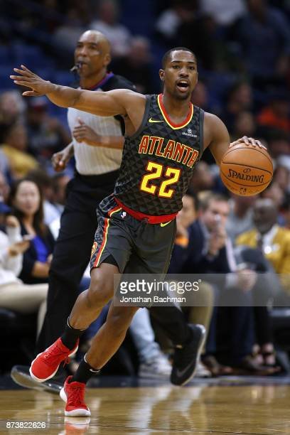 Isaiah Taylor of the Atlanta Hawks drives with the ball during the first half of a game against the New Orleans Pelicans at the Smoothie King Center...