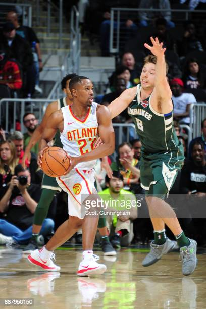 Isaiah Taylor of the Atlanta Hawks handles the ball against the Milwaukee Bucks on October 29 2017 at Philips Arena in Atlanta Georgia NOTE TO USER...