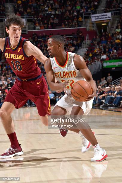 Isaiah Taylor of the Atlanta Hawks handles the ball against the Cleveland Cavaliers on November 5 2017 at Quicken Loans Arena in Cleveland Ohio NOTE...