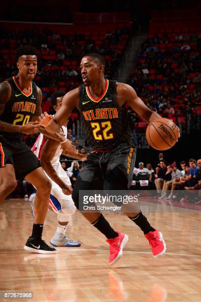 Isaiah Taylor of the Atlanta Hawks handles the ball against the Detroit Pistons on November 10 2017 at Little Caesars Arena in Auburn Hills Michigan...