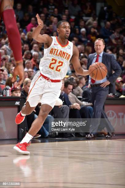 Isaiah Taylor of the Atlanta Hawks handles the ball against the Cleveland Cavaliers on December 12 2017 at Quicken Loans Arena in Cleveland Ohio NOTE...