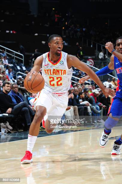 Isaiah Taylor of the Atlanta Hawks handles the ball against the Detroit Pistons on December 14 2017 at Philips Arena in Atlanta Georgia NOTE TO USER...