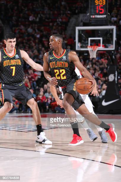 Isaiah Taylor of the Atlanta Hawks handles the ball against the Portland Trail Blazers on January 5 2018 at the Moda Center Arena in Portland Oregon...