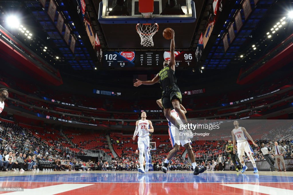 Isaiah Taylor #22 of the Atlanta Hawks handles the ball against the Detroit Pistons on February 14, 2018 at Little Caesars Arena in Detroit, Michigan.