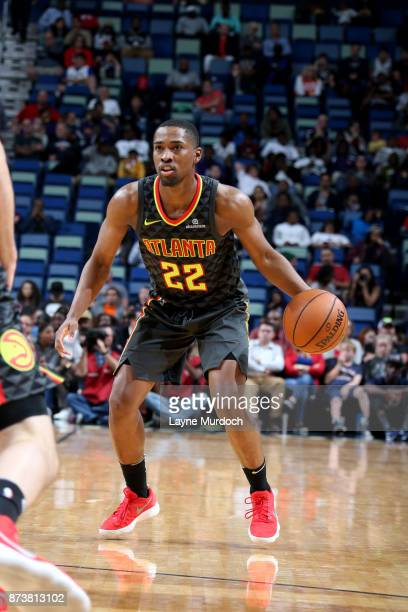 Isaiah Taylor of the Atlanta Hawks handles the ball during the game against the New Orleans Pelicans on November 13 2017 at Smoothie King Center in...