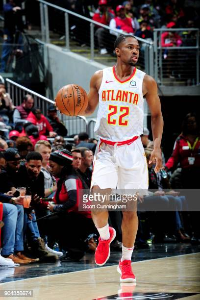 Isaiah Taylor of the Atlanta Hawks handles the ball during the game against the Brooklyn Nets on January 12 2018 at Philips Arena in Atlanta Georgia...