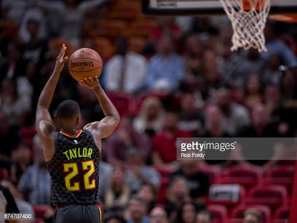 Isaiah Taylor of the Atlanta Hawks shoots during the game against the Miami Heat at the American Airlines Arena on October 23 2017 in Miami Florida...