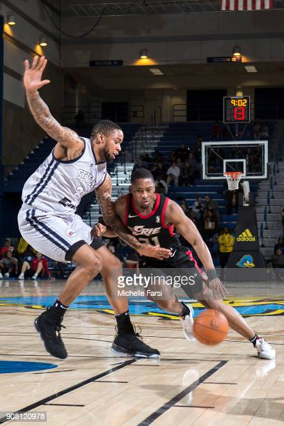 Isaiah Taylor of the Erie BayHawks handles the ball against the Delaware 87ers during an NBA GLeague game on January 20 2018 at the Bob Carpenter...