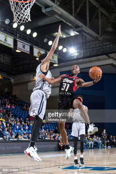 Isaiah Taylor of the Erie BayHawks shoots the ball against the Delaware 87ers during an NBA GLeague game on January 20 2018 at the Bob Carpenter...