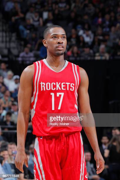 Isaiah Taylor of the Houston Rockets looks on during the game against the Sacramento Kings on April 9 2017 at Golden 1 Center in Sacramento...