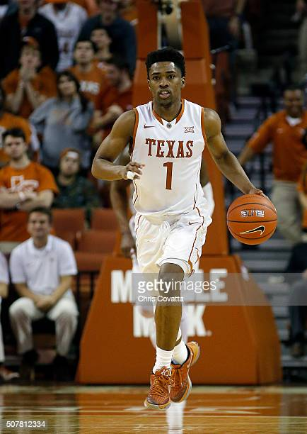 Isaiah Taylor of the Texas Longhorns brings the ball up court against the TCU Horned Frogs at the Frank Erwin Center on January 26 2016 in Austin...