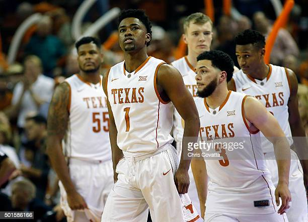 Isaiah Taylor of the Texas Longhorns leads his teammates on the court during the game with the North Carolina Tar Heels at the Frank Erwin Center on...