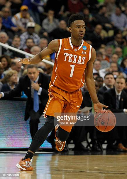 Isaiah Taylor of the Texas Longhorns plays against the Butler Bulldogs during the second round of the 2015 NCAA Men's Basketball Tournament at Consol...