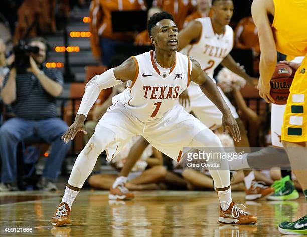 Isaiah Taylor of the Texas Longhorns plays defense against the North Dakota State Bison at the Frank Erwin Center on November 14 2014 in Austin Texas