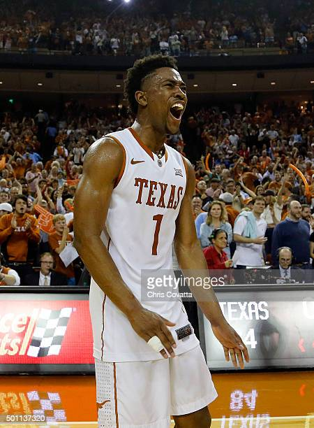 Isaiah Taylor of the Texas Longhorns reacts as his team defeats the North Carolina Tar Heels at the Frank Erwin Center on December 12 2015 in Austin...