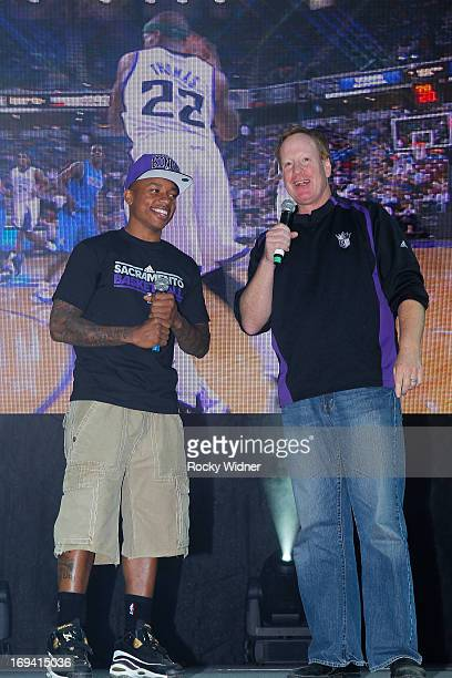 Isaiah Thomas and Grant Napear address the crowd at the Kings Rally on May 23 2013 in Sacramento California NOTE TO USER User expressly acknowledges...