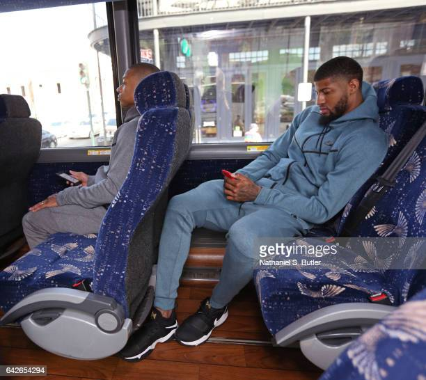 Isaiah Thomas and Paul George of the Eastern Conference All Star Team ride on the bus before NBA AllStar Practice as part of 2017 AllStar Weekend at...