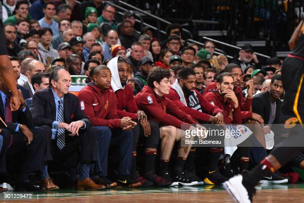 Isaiah Thomas and the Cleveland Cavaliers bench looks on during the game against the Boston Celtics on January 3 2018 at the TD Garden in Boston...