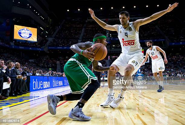 Isaiah Thomas of Boston Celtics drives against Felipe Reyes of Real Madrid during the friendlies of the NBA Global Games 2015 basketball match...