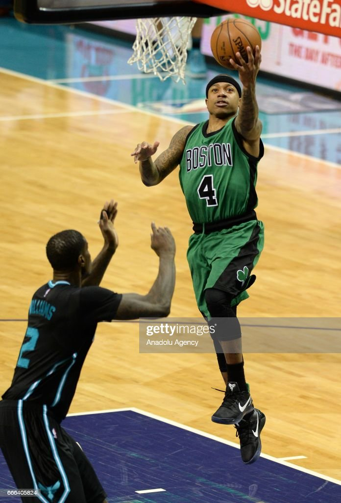 Isaiah Thomas (4) of Boston Celtics jumps to score during the NBA match between Boston Celtics vs Charlotte Hornets at the Spectrum arena in Charlotte, NC, United States on April 8, 2017.
