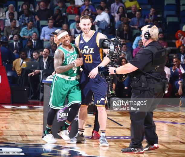 Isaiah Thomas of the Boston Celtics and Gordon Hayward of the Utah Jazz react during the Taco Bell Skills Challenge during State Farm AllStar...