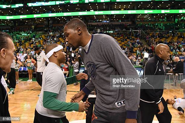 Isaiah Thomas of the Boston Celtics and Kevin Durant of the Oklahoma City Thunder are seen before the game on March 16 2016 at the TD Garden in...