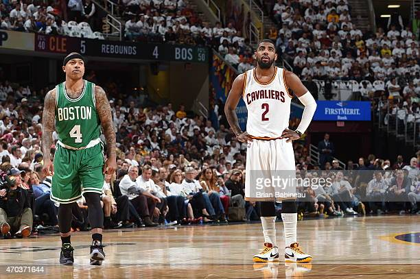 Isaiah Thomas of the Boston Celtics and Kyrie Irving of the Cleveland Cavaliers in Game One of the Eastern Conference Quarterfinals during the NBA...