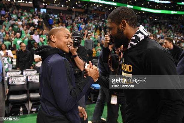 Isaiah Thomas of the Boston Celtics and Kyrie Irving of the Cleveland Cavaliers are seen after the game in Game Five of the Eastern Conference Finals...