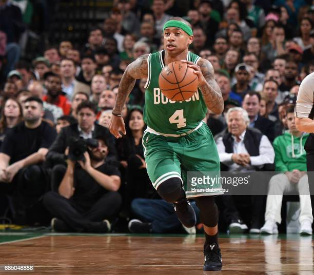 Isaiah Thomas of the Boston Celtics brings the ball up court against the Cleveland Cavaliers during the game on April 5 2017 at the TD Garden in...