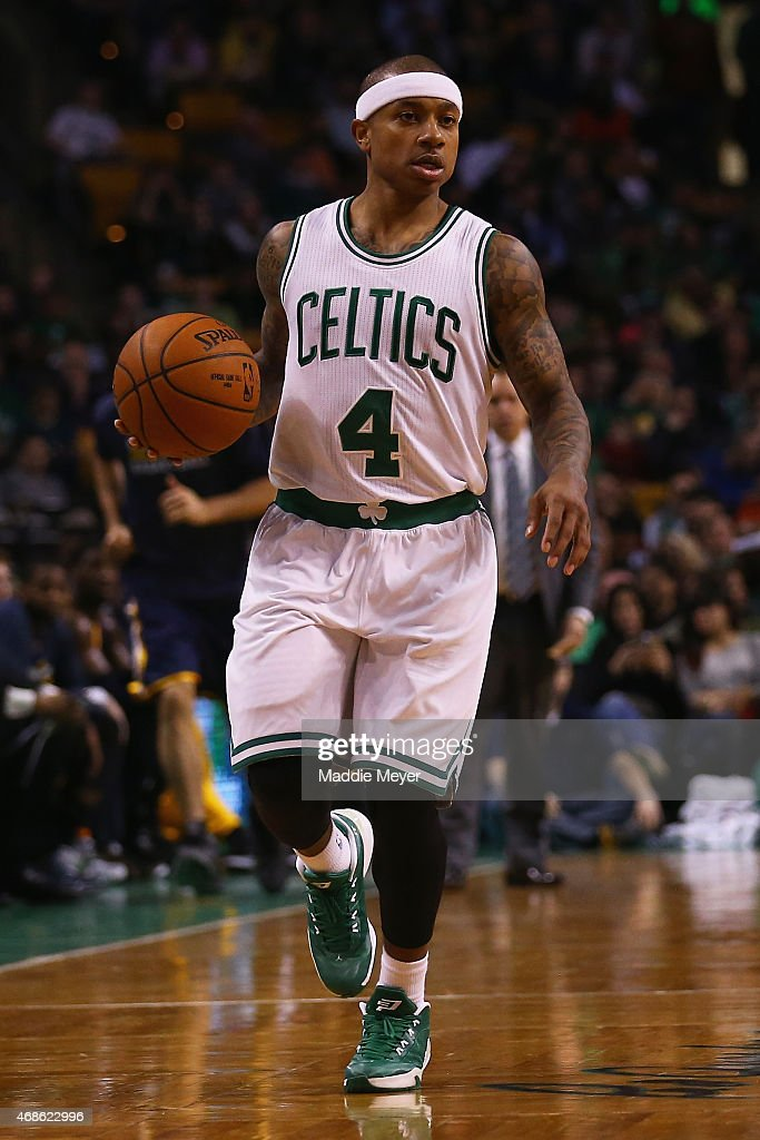 Isaiah Thomas #4 of the Boston Celtics carries the ball against the Indiana Pacers during the third quarter at TD Garden on April 1, 2015 in Boston, Massachusetts. The Celtics defeat the Pacers 100-87.