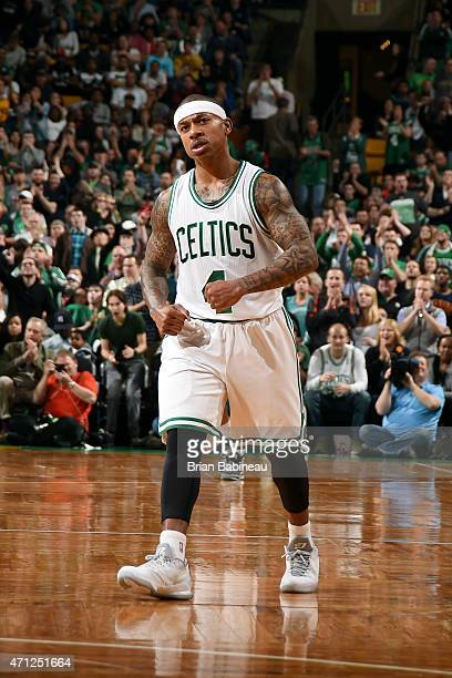 Isaiah Thomas of the Boston Celtics celebrates during a game against the Cleveland Cavaliers in Game Four of the Eastern Conference Quarterfinals...