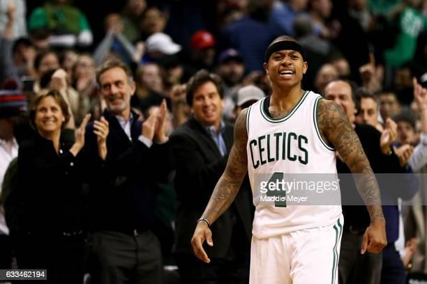 Isaiah Thomas of the Boston Celtics celebrates during the fourth quarter against the Toronto Raptors at TD Garden on February 1 2017 in Boston...