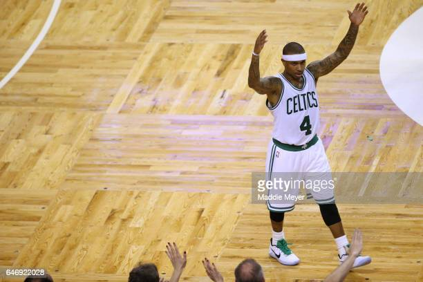 Isaiah Thomas of the Boston Celtics celebrates during the fourth quarter against the Cleveland Cavaliers at TD Garden on March 1 2017 in Boston...