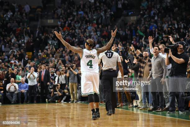 Isaiah Thomas of the Boston Celtics celebrates during the game against the Toronto Raptors on February 1 2017 at the TD Garden in Boston...