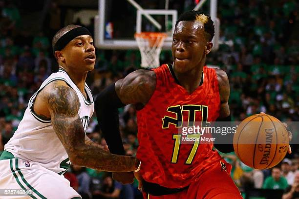 Isaiah Thomas of the Boston Celtics defends Dennis Schroder of the Atlanta Hawks during the fourth quarter of Game Six of the Eastern Conference...