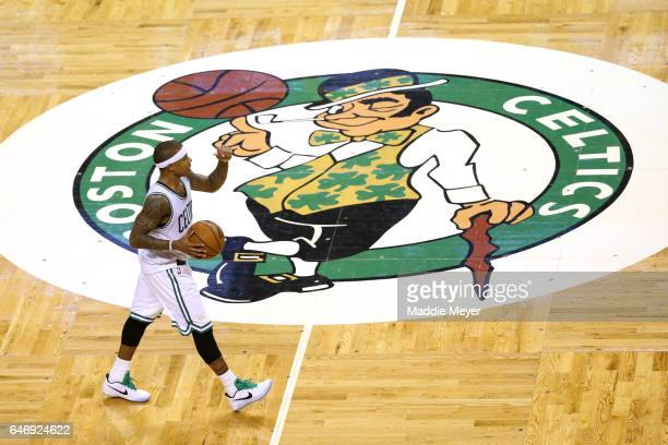 Isaiah Thomas of the Boston Celtics dribbles against the Cleveland Cavaliers during the fourth quarter at TD Garden on March 1 2017 in Boston...