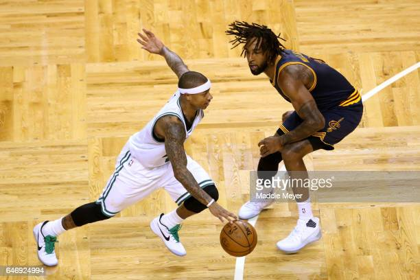 Isaiah Thomas of the Boston Celtics drives against Derrick Williams of the Cleveland Cavaliers during the fourth quarter at TD Garden on March 1 2017...
