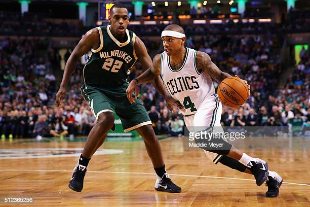 Isaiah Thomas of the Boston Celtics drives against Khris Middleton of the Milwaukee Bucks during the third quarter at TD Garden on February 25 2016...