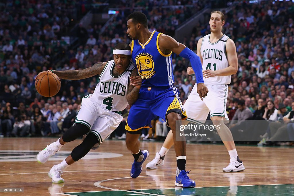 Isaiah Thomas #4 of the Boston Celtics drives against Leandro Barbosa #19 of the Golden State Warriors during the second quarter at TD Garden on December 11, 2015 in Boston, Massachusetts.
