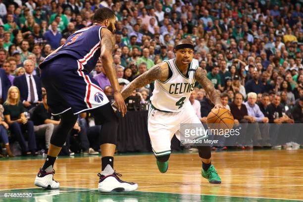 Isaiah Thomas of the Boston Celtics drives against Markieff Morris of the Washington Wizards during overtime in the Celtics 129119 win over the...