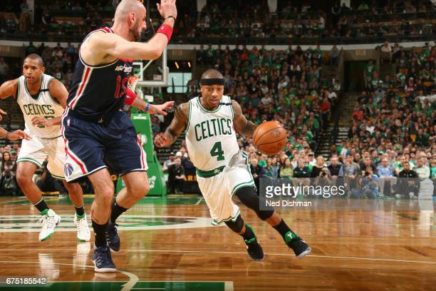 Isaiah Thomas of the Boston Celtics drives to the basket against the Washington Wizards in Game One of the Eastern Conference Semifinals of the 2017...