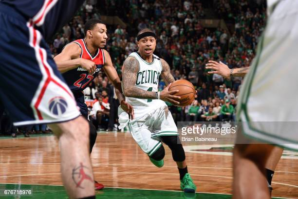 Isaiah Thomas of the Boston Celtics drives to the basket during the game against the Washington Wizards during Game Two of the Eastern Conference...