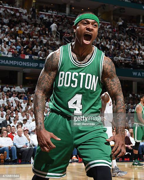 Isaiah Thomas of the Boston Celtics during Game Two of the Eastern Conference Quarterfinals against the Cleveland Cavaliers during the 2015 NBA...