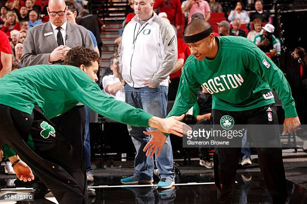 Isaiah Thomas of the Boston Celtics gets introduced before the game against the Portland Trail Blazers on March 31 2016 at the Moda Center in...