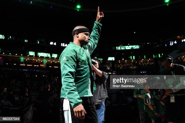 Isaiah Thomas of the Boston Celtics gets introduced in the starting line up before the game against the Milwaukee Bucks on March 29 2017 at TD Garden...